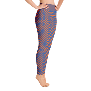 Orange Dots Blue Background Yoga Leggings - Spgetti