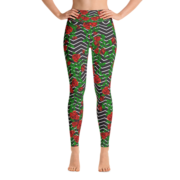 Roses on Zigzag Yoga Leggings