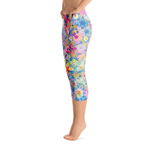 Beautiful Floral Design Pink Yoga Capri Leggings - Spgetti