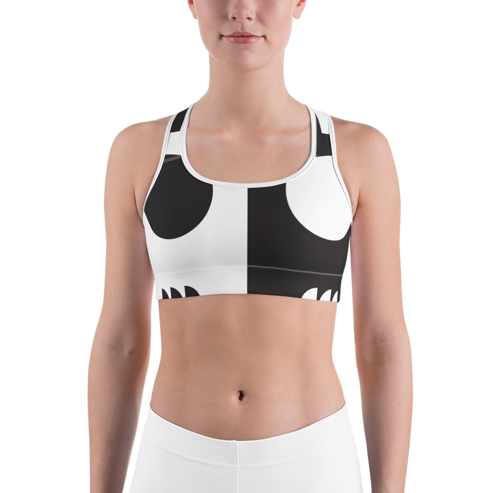 Black and White Circle Design Sports bra - Spgetti