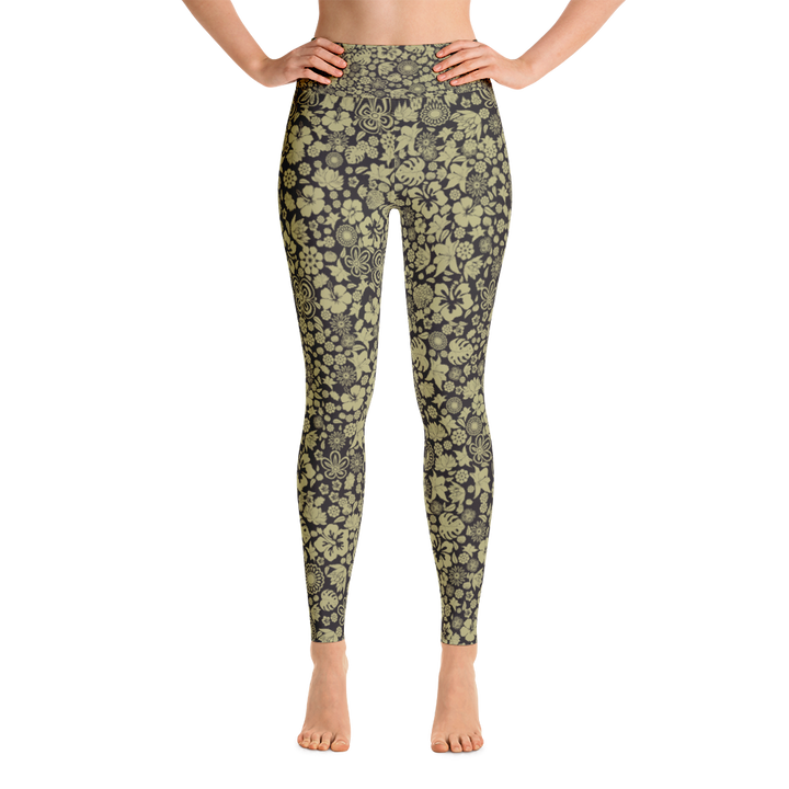 Multiple Flowers on Black Yoga Leggings - Spgetti