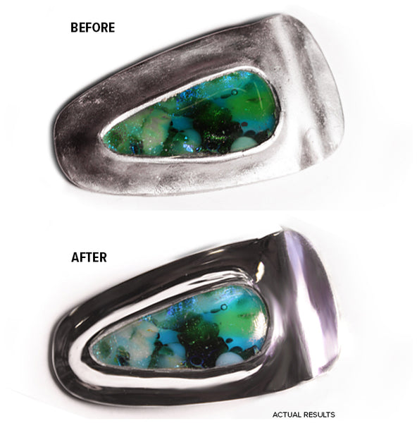 Before After of Metal Clay Pendant