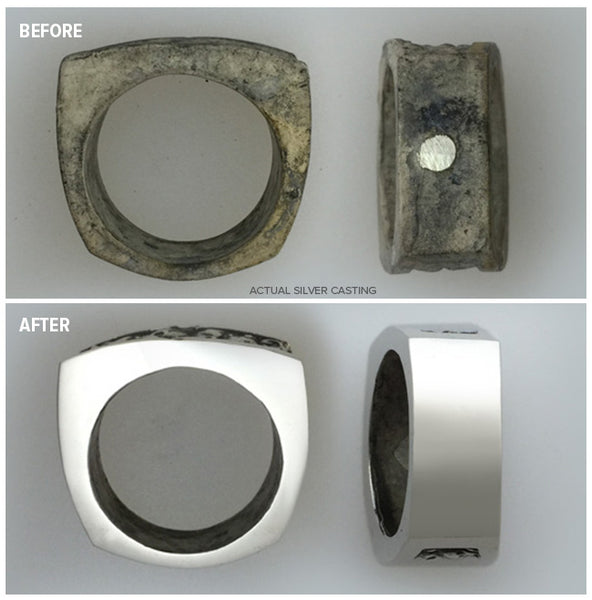 Before After image of Silver Ring Casting