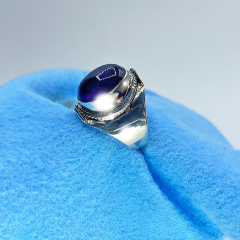 Blue Polishing Cloth on Ring