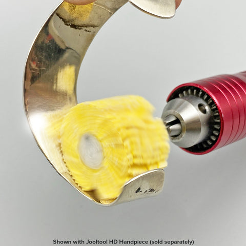 Mini Yellow Puffy Buff in Use with Handpiece
