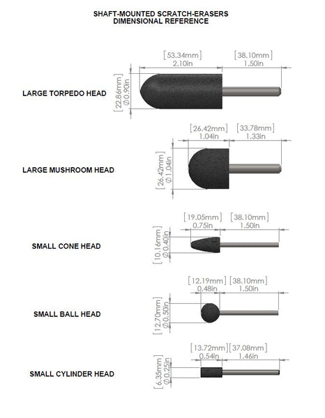 Shaft-Mounted Scratch-Eraser Dimensions