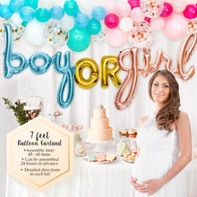 Gender Reveal Party Supplies Decorations for Boy or Girl with Rose Gold & Blue Foil Balloons, Balloon Garland Decorating Strip and Hand Pump