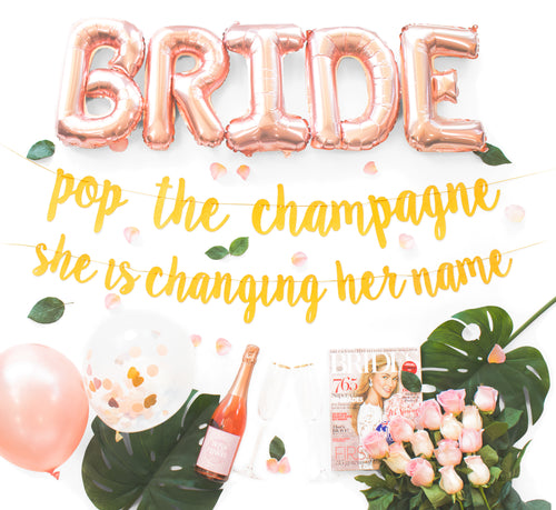 Bachelorette Party Decorations Kit | Bridal Shower Supplies | Bride to Be Sash, Champagne, Ring Foil Balloon, Rose Gold Balloons, Gold Glitter Banner | Pop The Champagne She is Changing Her Name