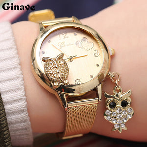 GINAVE Brand Fashion Owl Pendant Quartz  Women Wrist Watches Stainless Steel Mesh Belt Ladies Wristwatch Female Clock Owl Relogi