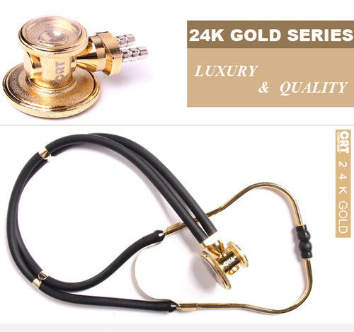 24K Gilt Gold Plated Dual Head Professional Medical Cardiology Stethoscope