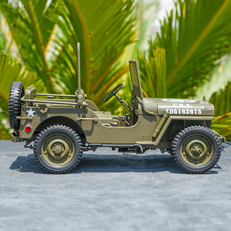 1:18 FX series Military jeep WWII Second World War Classic jeep car models for gift, collection