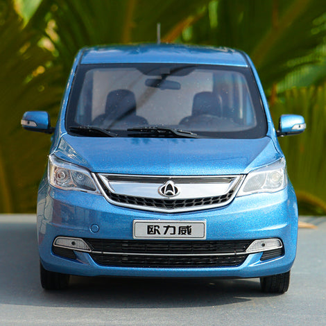 1:18 Scale Original Changan Oulove Diecast blue van car model with small gift