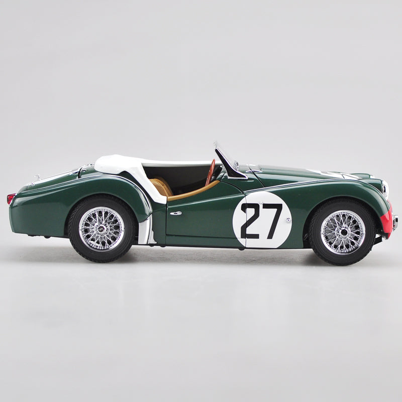High classic collectible Kyosho 1:18 Triumph vintage car TR3S 1959 Le mans race 27# diecast vintage car model with small gift