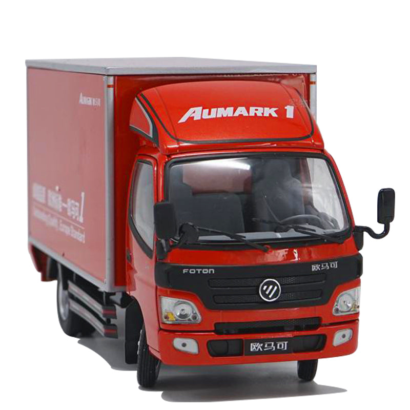 1:24 original diecast foton Aumark light truck model, scale container van alloy truck model with small gift