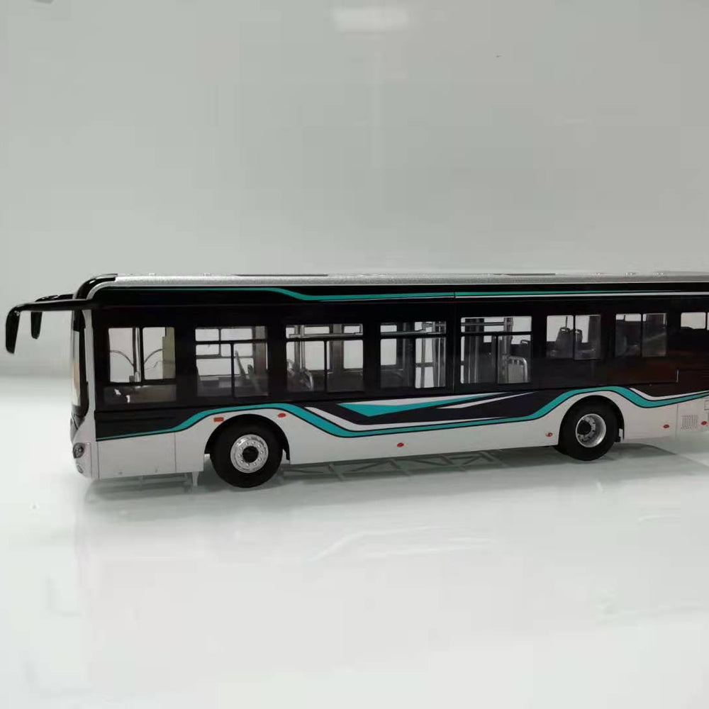 1:42 Original Suzhou Jinlong Higer Wei blue car model alloy new energy bus light version bus model