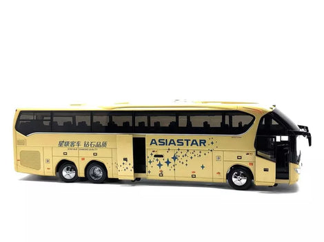 Diecast 1:42 Scale Asiastar YBL6148H Bus Model with yellow/blue version