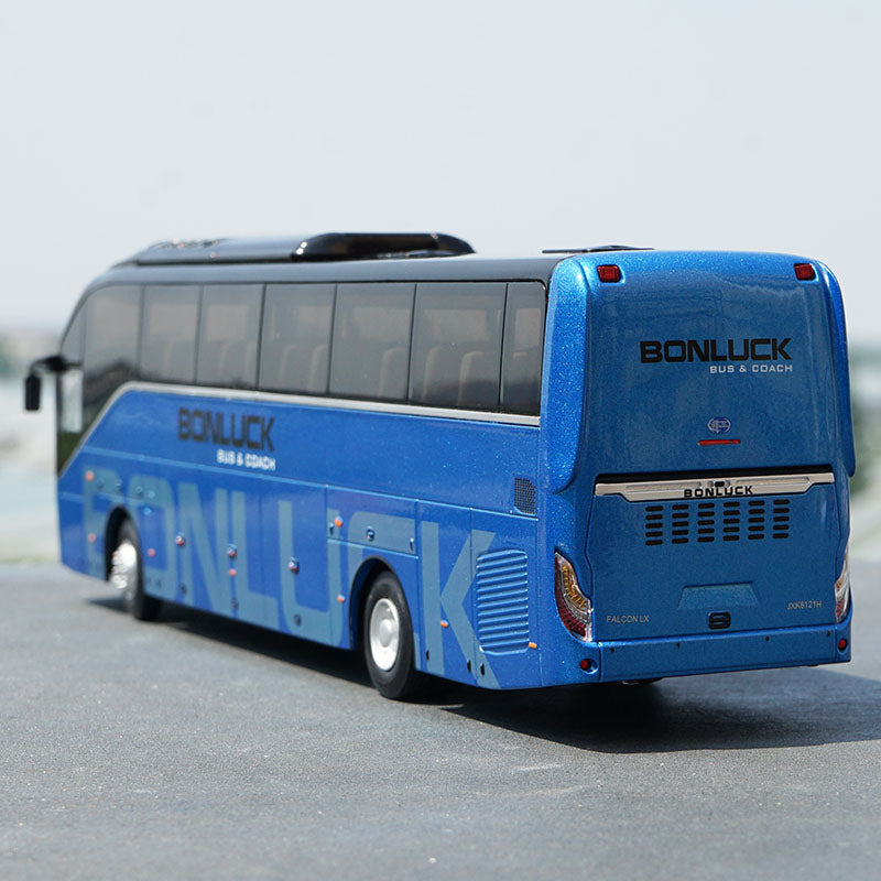 Original factory authentic 1:42 Scale Blue Diecast Bonluck Falcon LX Coach Bus Model for Birthday/Christmas gift