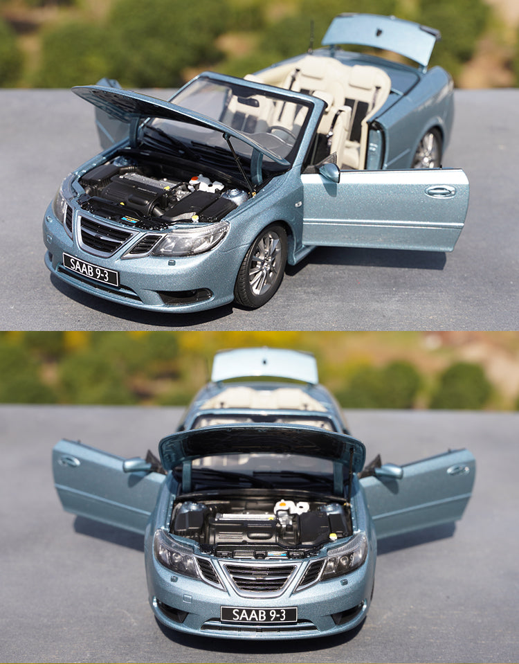 Original factory authentic 1:18 SAAB 9-3 Zinc alloy sports car model, diecast scale roadster car model for gift, collection