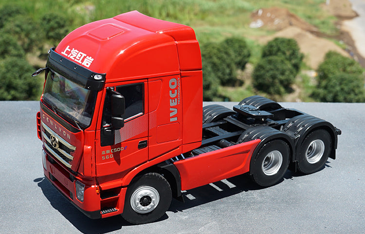 High classic authentic 1:24 SAIC Iveco Cenlvon Jacklion C500 tractor trailer alloy truck model with fast delivery