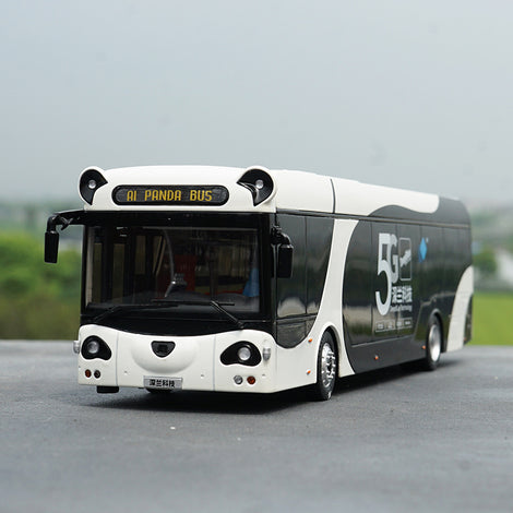 Original factory high quality deepblue technology 1:42 diecast White-Black AL Panda City Bus Model for gift, collection