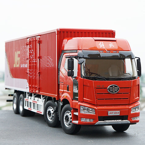 Original factory authentic diecast 1:24 FAW Jiefang J6P 8*4 Diecast logistic container truck model toy gift