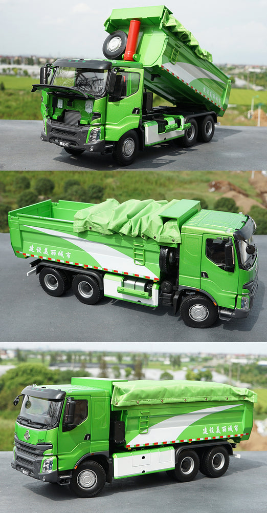 Original factory 1:24 DFLZM Balong Chenglong H7 6*4 diecast slag car model,Alloy Chenglong H7 dump truck models for collection, gift