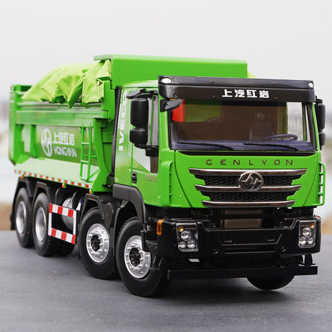 Original factory Green/Red 1:24 SAIC Hongyan IVECO GISINFO intelligent 8*4 diecast dump truck model for gift, collection