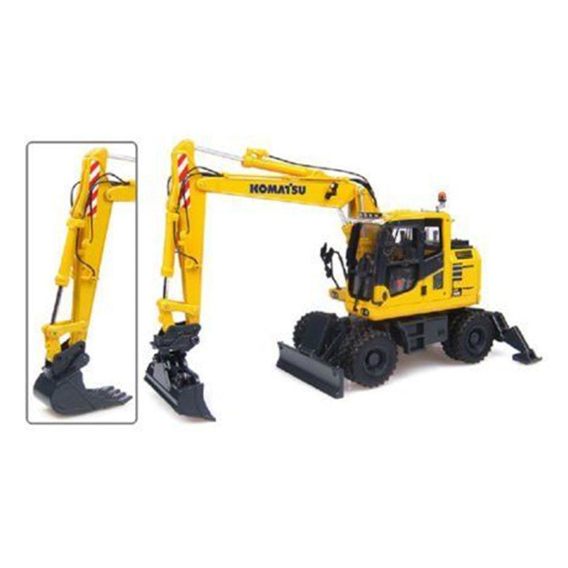 1/50 Zinc alloy UH Komatsu PW148-10 Wheeled Excavator with Standard and Ditching Bucket
