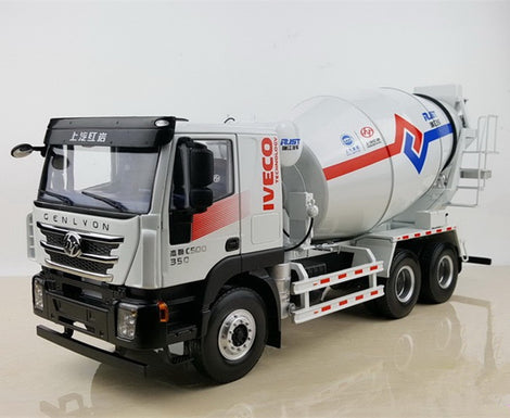 Original Authorized Authentic 1/24 SAIC Hongyan Iveco Genlvon Concrete mixer agitatorTruck construction machinery diecast model for Christmas,collection