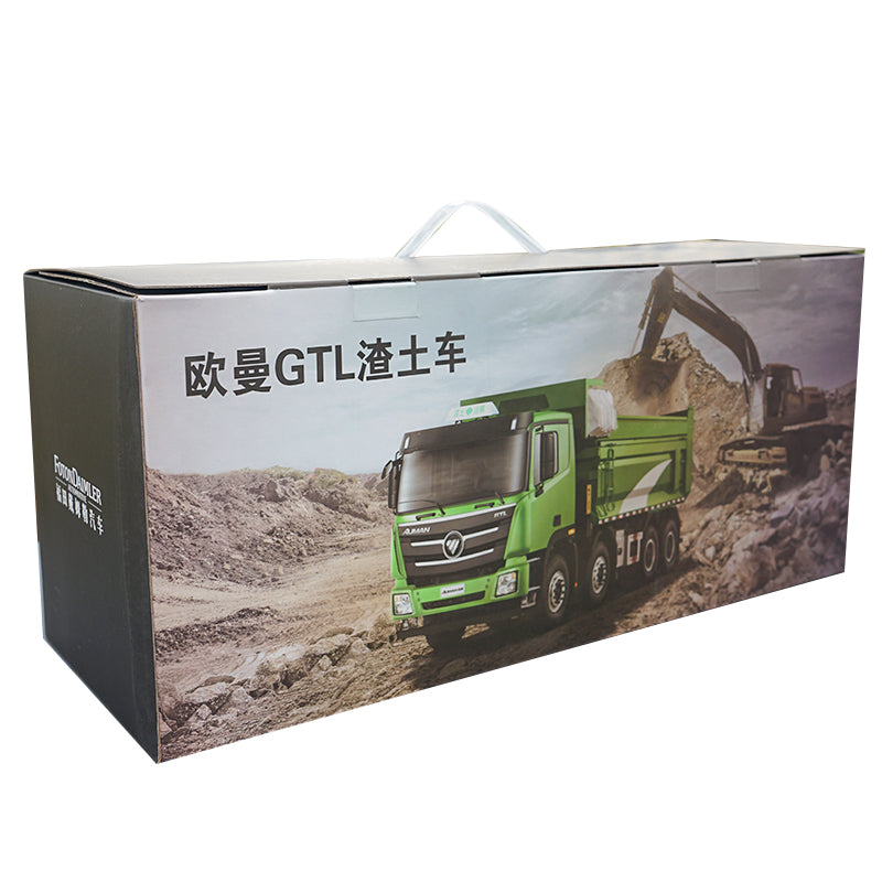 Original factory diecast 1:24 foton Auman GTL dumper model, diecast green eco-friendly dump truck model with small gift