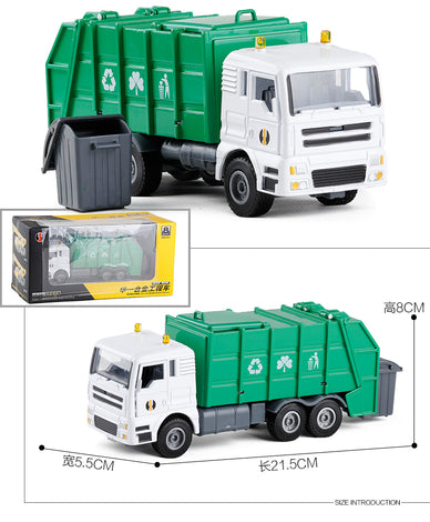 1:50 zinc alloy toy Cleaning garbage truck models, high quality green die cast truck model