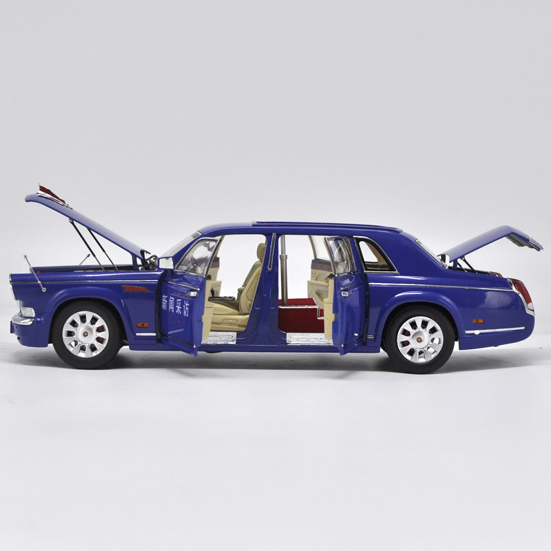 Zinc alloy Car Model 1:18 Hongqi CA7600 Newsvan Car C (Blue) Limited Version With stow number
