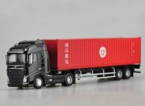 1:50 Scale Red-Black Diecast Volvo Semi Truck Model