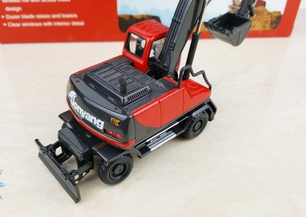 Original factory authentic 1:50 jonyang wheeled hydraulic excavator Construction machinery model for gift, collection