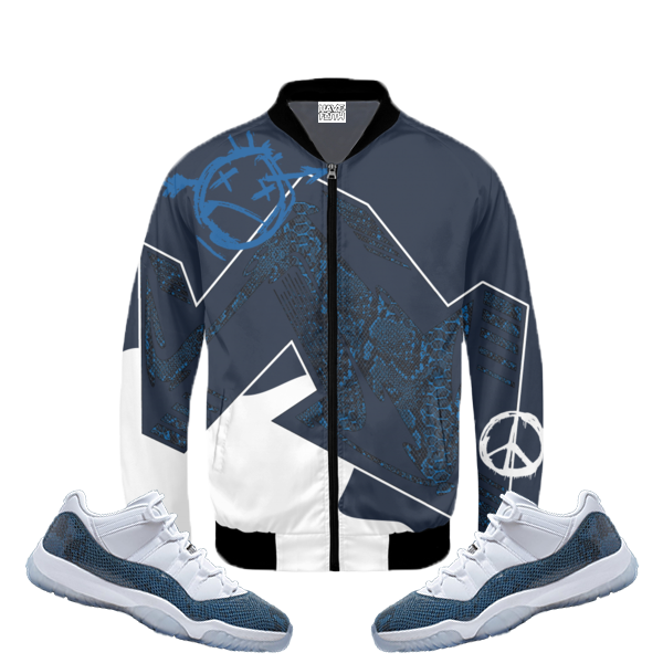 Have Faith (SnakeSkin Navy 11's) Bomber Jacket - HaveFaithClothingCo