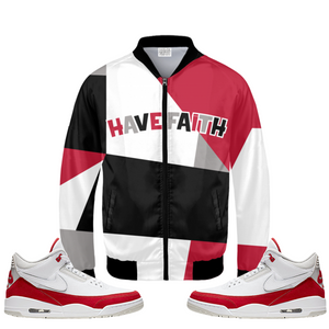Have Faith (Tinker University Red 3's) Bomber Jacket - HaveFaithClothingCo