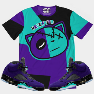 COLOR BLOCK HF (ALTERNATE GRAPE RETRO 5'S) T-Shirt - HaveFaithClothingCo