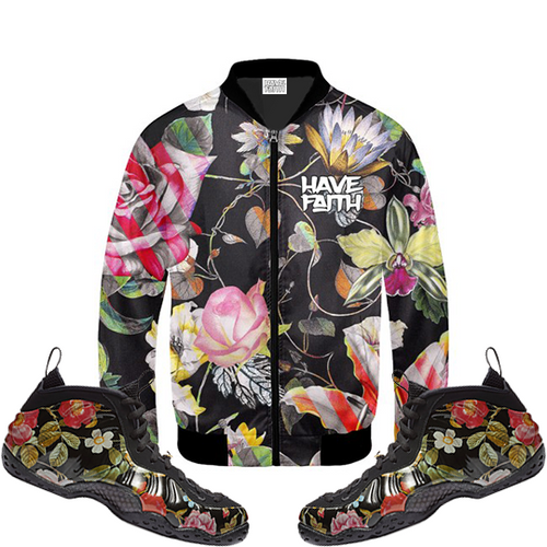 "Floral (Foamposite One""Floral"") Bomber Jacket - HaveFaithClothingCo"