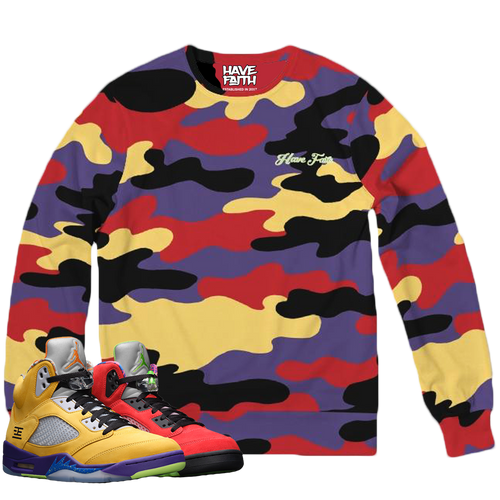 HF CAMO (What The Retro 5's) Classic French Terry Crewneck Pullover - HaveFaithClothingCo