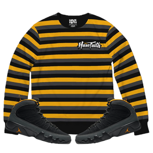 HF Stripe (Air Jordan 9 University Gold) French Terry Crewneck Pullover - Shop Men, Women, Kids clothing and accessories To Match Your Kicks online