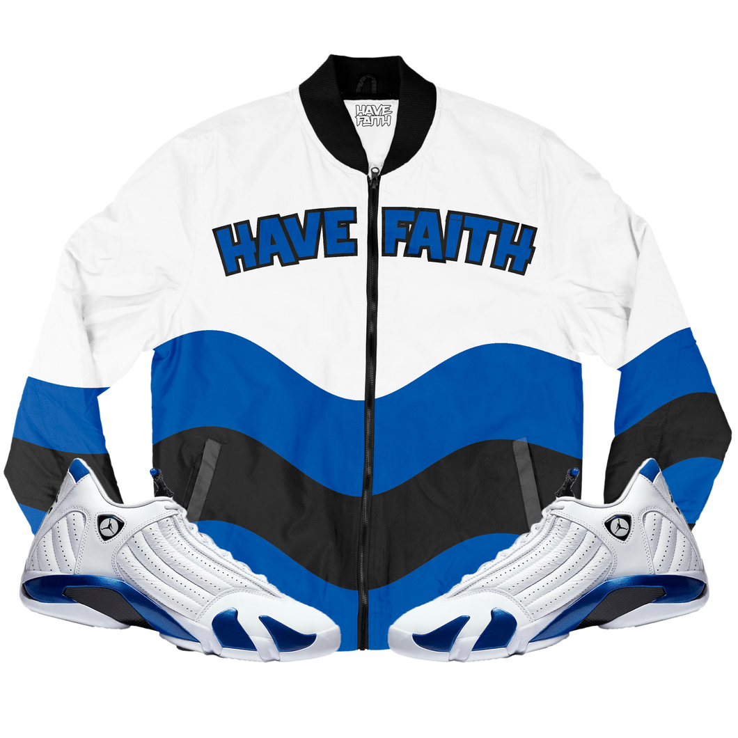 HF Wave (Hyper Royal Retro 14's) Bomber Jacket - HaveFaithClothingCo