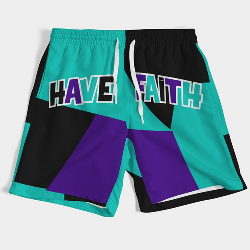 COLOR BLOCK HF (ALTERNATE GRAPE RETRO 5'S) Men's Swim Trunks - HaveFaithClothingCo