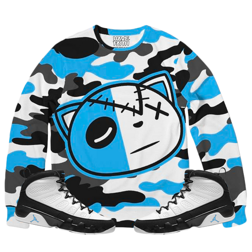 Have Faith Camo (UNC Retro 9's) French Terry Crewneck Pullover - Shop Men, Women, Kids clothing and accessories To Match Your Kicks online