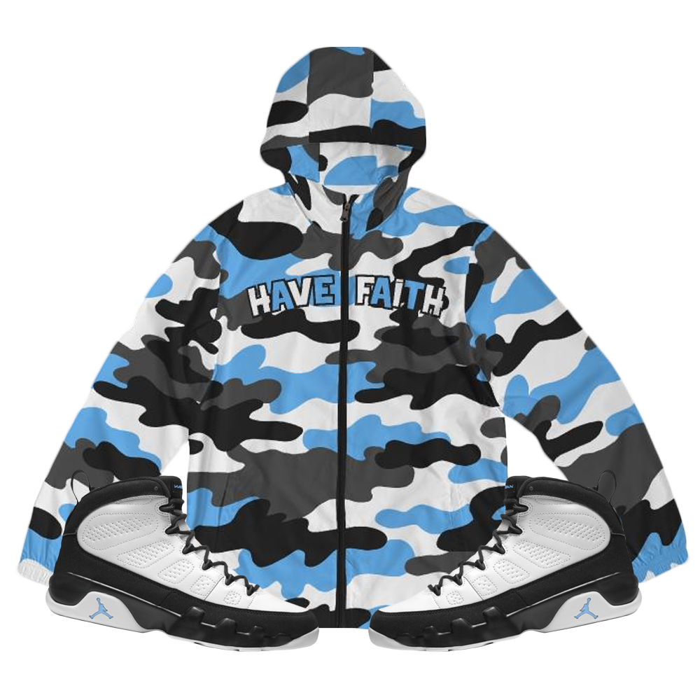 HF CAMO (UNC Retro 9's) Windbreaker - Shop Men, Women, Kids clothing and accessories To Match Your Kicks online
