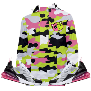 Camo (Volt Fuchsia Air Max 270) Front Pocket Pullover Windbreaker - HaveFaithClothingCo