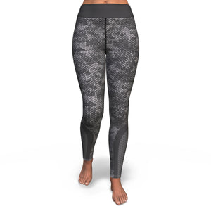 Grey Hexed Camouflage Yoga Pants - HaveFaithClothingCo