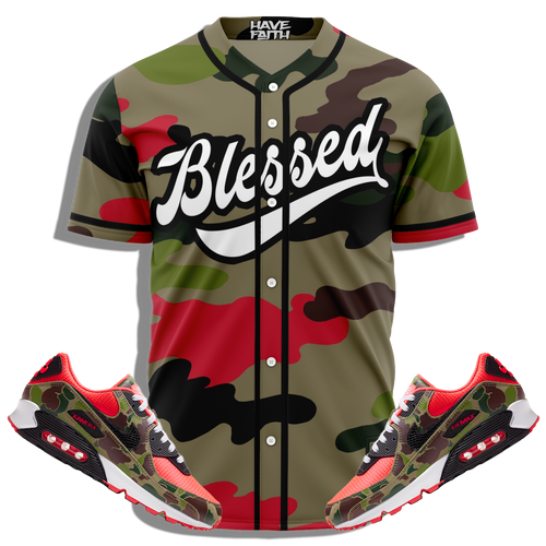 Blessed (Reverse Duck Camo Air Max 90) Baseball Jersey