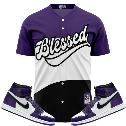 Blessed (Court Purple Retro 1's) Baseball Jersey