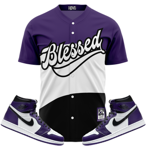Blessed (Court Purple Retro 1's) Baseball Jersey - Shop Men, Women, Kids clothing and accessories To Match Your Kicks online