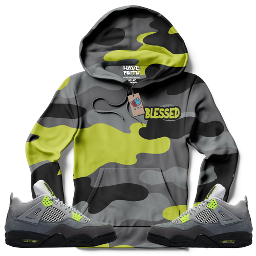 Blessed Camo (Neon Air Max 95 Retro 4's) Hoodie - Shop Men, Women, Kids clothing and accessories To Match Your Kicks online